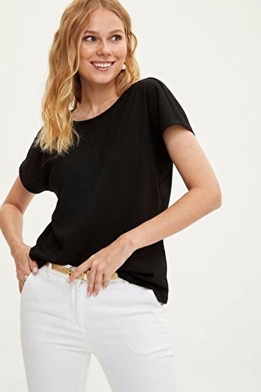 DeFacto Sırtı Tokayla Büzgülü Kısa Kollu T-shirt Siyah